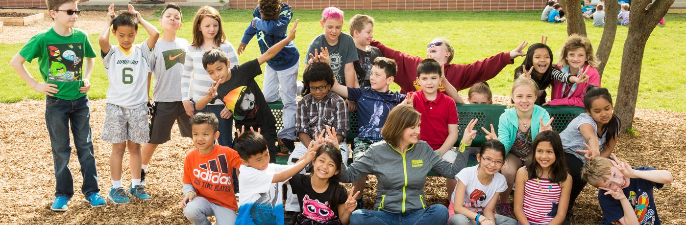 Moore Elementary School Students Posing